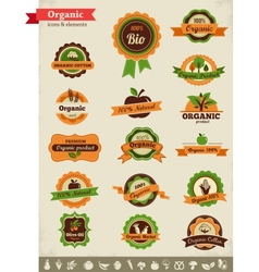 Organic food labels tags and graphic elements vector image