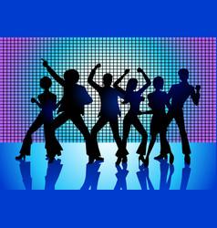 People disco dancing vector
