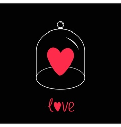 Pink heart glass bell cover cap half sphere lid vector