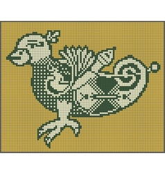 Pixel bird design in folk style for cross stitch vector