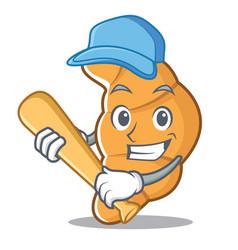 Playing baseball croissant character cartoon style vector