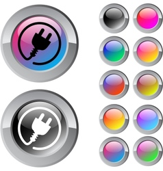 Power plug multicolor round button vector image
