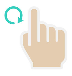 rotate right flat icon touch and hand gestures vector image