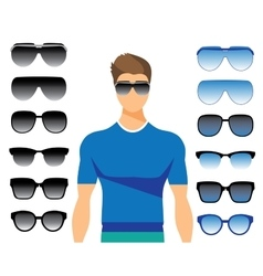 Set of different glasses on white vector