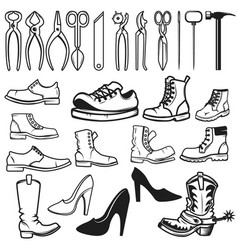 Shoe repair design elements tools for shoe repair vector