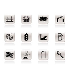 simple road navigation and travel icons vector image vector image