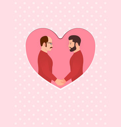 two men multiracial gay couple in love holding vector image vector image