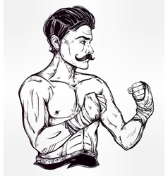 Vintage retro boxer fighter player vector image vector image