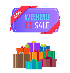 Weekend best sale label 20 off discount poster vector