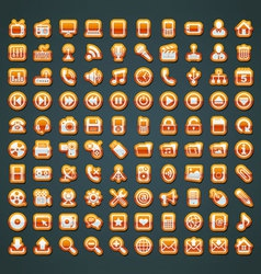 100 orange icons vector image vector image
