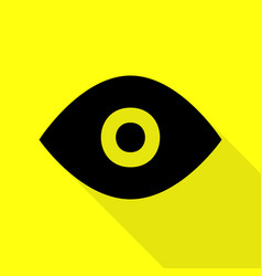 Eye sign  black icon with flat style vector