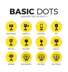 Award flat icons set vector
