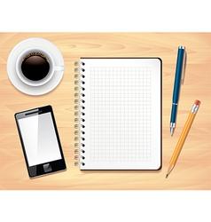 office desk notes background vector image
