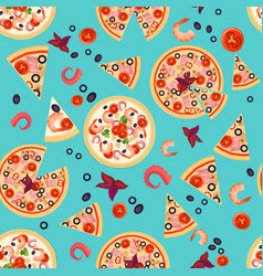 seamless texture of pizza slices with vector image