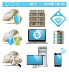 Computer icons set 3 vector