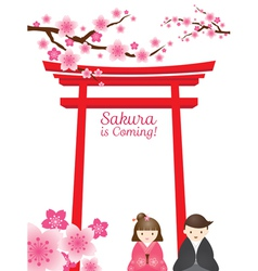 Cherry blossoms with torii gate and couple vector