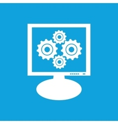 Cogs monitor icon vector
