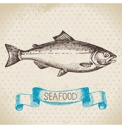 Vintage sea background hand drawn sketch seafood vector
