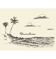 Hand drawn vacation poster seaside beach sketch vector