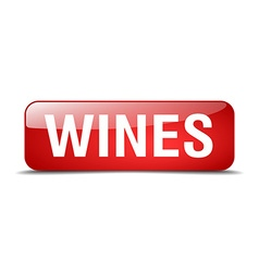 Wines red square 3d realistic isolated web button vector