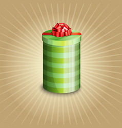 a gift box with red ribbon vector image vector image