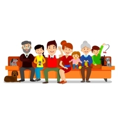 Big happy family sit on sofa parents with vector