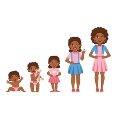 Black Girl Growing Stages With In vector image vector image
