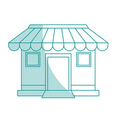 blue shading silhouette cartoon facade shop store vector image vector image
