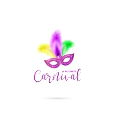 Carnival card with mask and vector