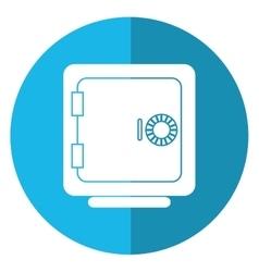 Closed safe box money bank shadow blue circle vector