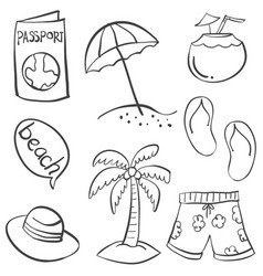 doodle of object summer hand draw vector image vector image