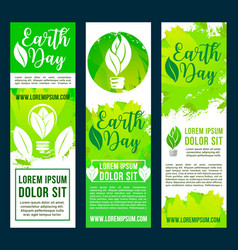 Earth day and ecology conservation banners vector