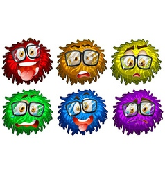 Facial expressions on pompom vector