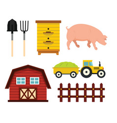Farm elements in cartoon flat style vector