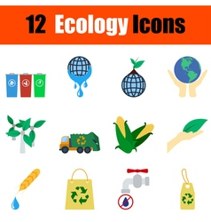 Flat design ecology icon set vector image vector image