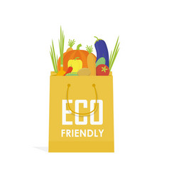 Go green paper eco food bag vector