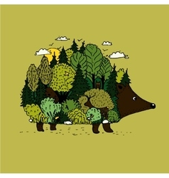 Hedgehog and forest of nature with vector image
