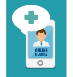 medical online smartphone doctor cross vector image vector image