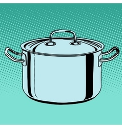 Metal saucepan cookware vector