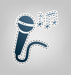Microphone sign with music notes blue vector