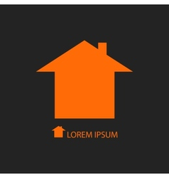 Orange house logo on black background vector image