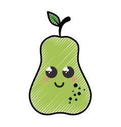 Pear cartoon smiley fruit vector