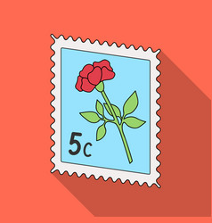 Postage stampmail and postman single icon in flat vector