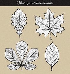 Retro set of 4 leaf sketch handmade vintage leaves vector