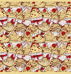 Seamless pattern with hand drawn decorated sweet vector