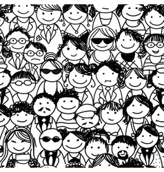Seamless pattern with people crowd for your design vector