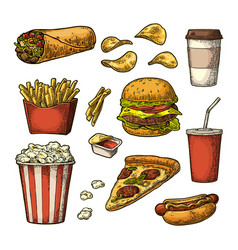 set fast food cup cola coffee hamburger pizza vector image