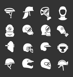 Set icons of helmets and masks vector image