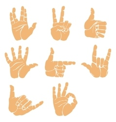 set of hand gesture vector image