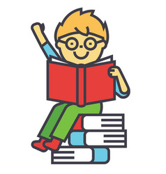 Smiling kid sitting on pile of books reading vector